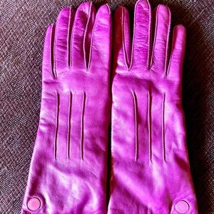 Coach Pink Purple Leather Gloves